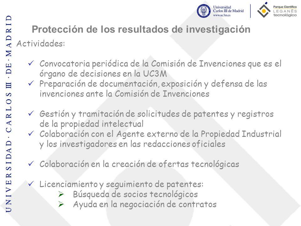 Actividades: Convocatoria periódica de la Comisión de Invenciones que es el órgano de decisiones en la UC3M Preparación de documentación, exposición y