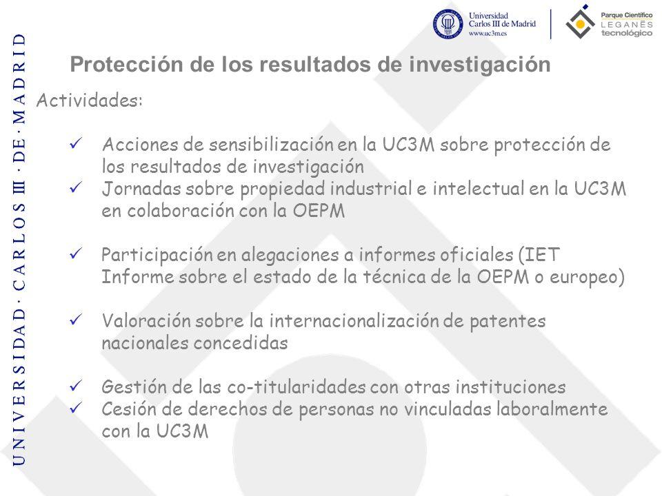 Actividades: Acciones de sensibilización en la UC3M sobre protección de los resultados de investigación Jornadas sobre propiedad industrial e intelect