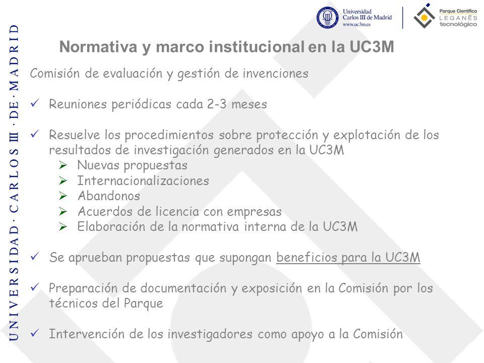 Comisión de evaluación y gestión de invenciones Reuniones periódicas cada 2-3 meses Resuelve los procedimientos sobre protección y explotación de los