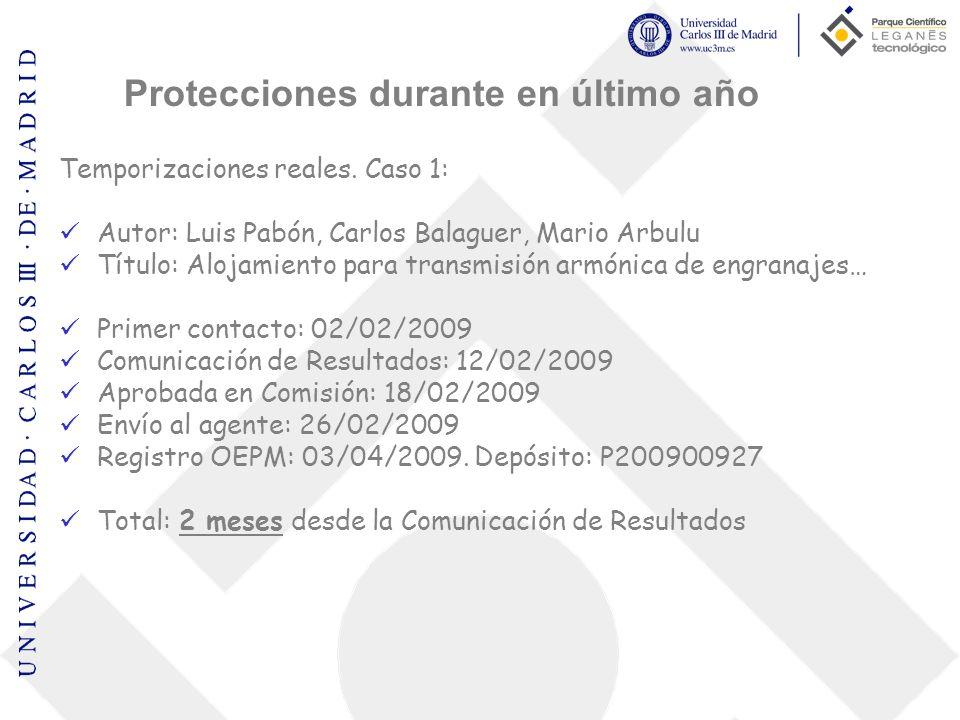 Temporizaciones reales. Caso 1: Autor: Luis Pabón, Carlos Balaguer, Mario Arbulu Título: Alojamiento para transmisión armónica de engranajes… Primer c