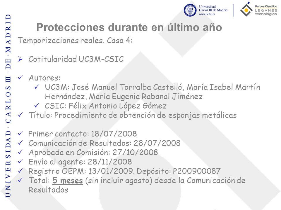 Temporizaciones reales. Caso 4: Cotitularidad UC3M-CSIC Autores: UC3M: José Manuel Torralba Castelló, María Isabel Martín Hernández, María Eugenia Rab