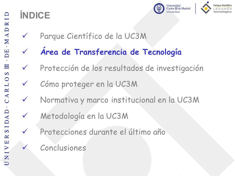 Área de Transferencia de Tecnología Misión Comercializar los resultados de investigación, promoviendo la oferta tecnológica y las capacidades científico-tecnológicas de la UC3M a las empresas, detectando y atendiendo las necesidades de I+D+i Objetivo Incrementar la transferencia de tecnología y conocimiento de la UC3M a la sociedad y a las empresas.
