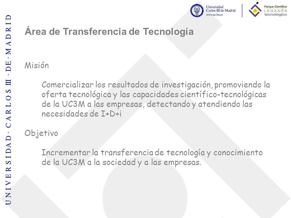 Área de Transferencia de Tecnología Misión Comercializar los resultados de investigación, promoviendo la oferta tecnológica y las capacidades científi