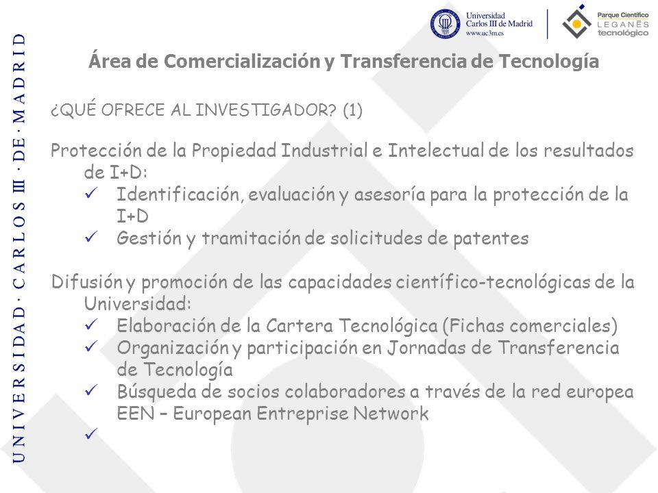 Área de Comercialización y Transferencia de Tecnología ¿QUÉ OFRECE AL INVESTIGADOR? (1) Protección de la Propiedad Industrial e Intelectual de los res
