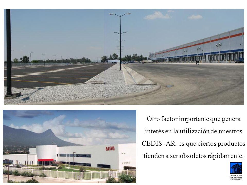 Otro factor importante que genera interés en la utilización de nuestros CEDIS -AR es que ciertos productos tienden a ser obsoletos rápidamente,