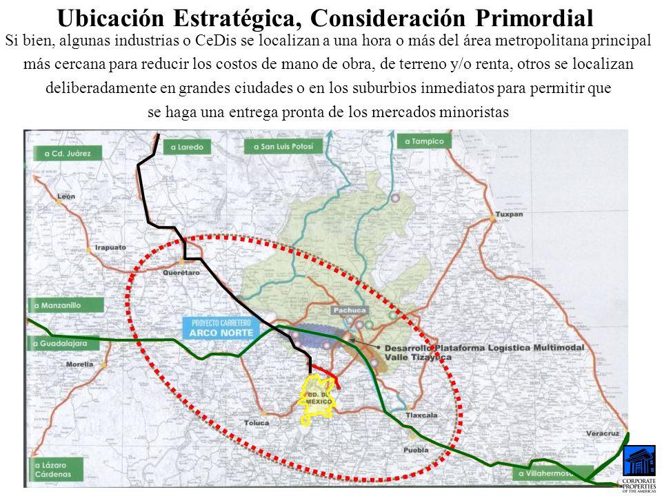 Ubicación Estratégica, Consideración Primordial Si bien, algunas industrias o CeDis se localizan a una hora o más del área metropolitana principal más