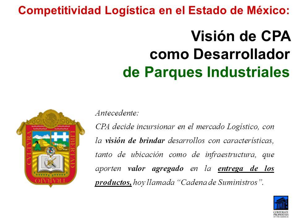 Competitividad Logística en el Estado de México: Visión de CPA como Desarrollador de Parques Industriales Antecedente: CPA decide incursionar en el me