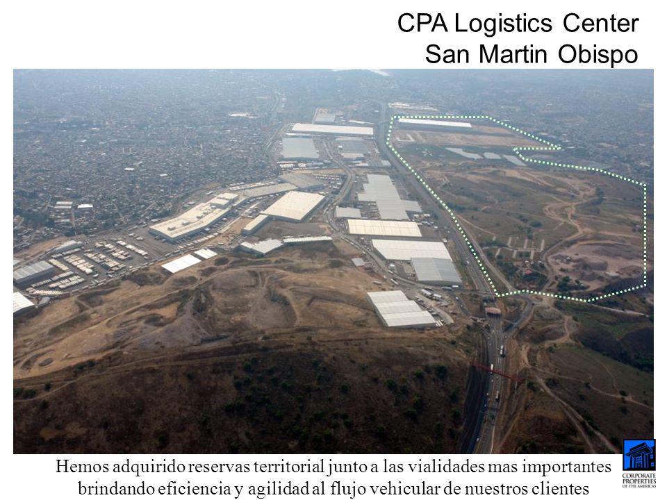 CPA Logistics Center San Martin Obispo Hemos adquirido reservas territorial junto a las vialidades mas importantes brindando eficiencia y agilidad al