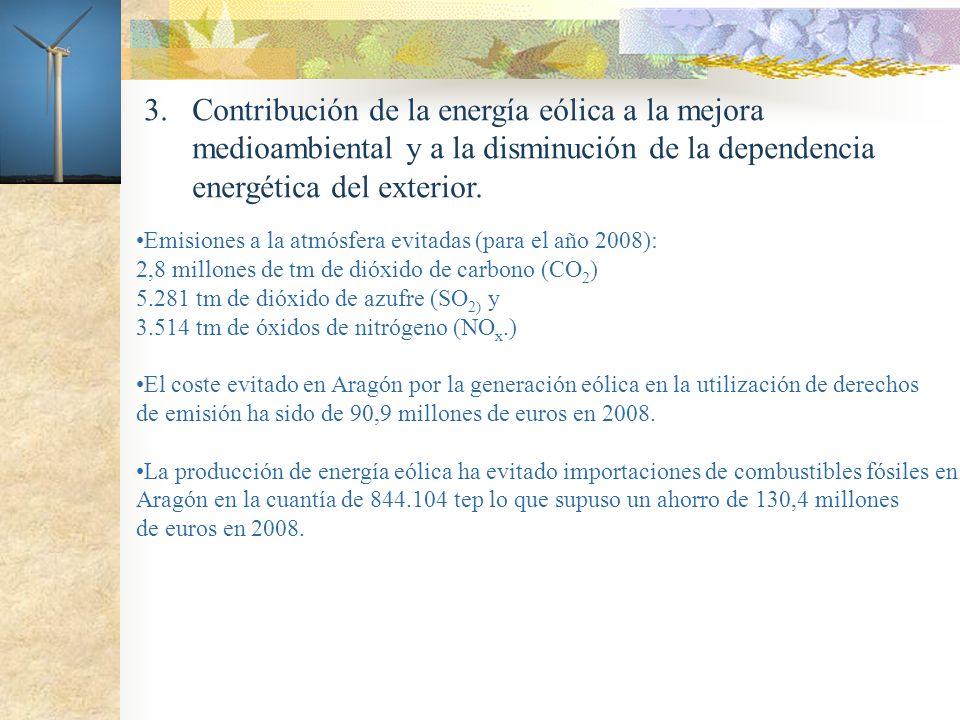 3. Contribución de la energía eólica a la mejora medioambiental y a la disminución de la dependencia energética del exterior. Emisiones a la atmósfera