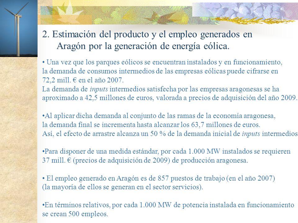 2. Estimación del producto y el empleo generados en Aragón por la generación de energía eólica. Una vez que los parques eólicos se encuentran instalad