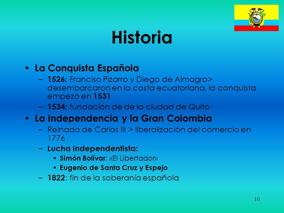 10 Historia La Conquista Española – 1526: Franciso Pizarro y Diego de Almagro> desembarcaron en la costa ecuatoriana, la conquista empezó en 1531 – 15