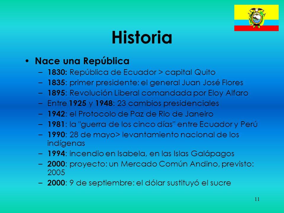 11 Historia Nace una República – 1830: República de Ecuador > capital Quito – 1835 : primer presidente: el general Juan José Flores – 1895 : Revolució