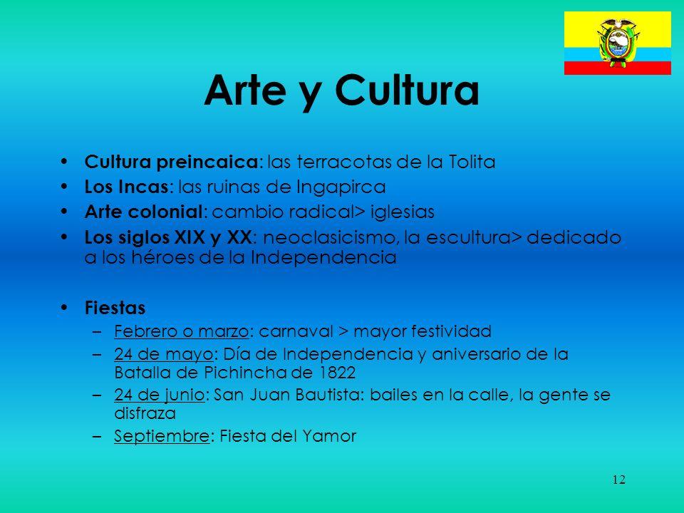 12 Arte y Cultura Cultura preincaica : las terracotas de la Tolita Los Incas : las ruinas de Ingapirca Arte colonial : cambio radical> iglesias Los si