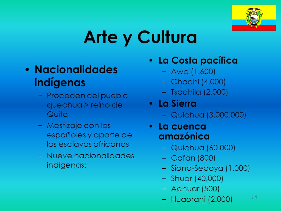 14 Arte y Cultura Nacionalidades indígenas –Proceden del pueblo quechua > reino de Quito –Mestizaje con los españoles y aporte de los esclavos african
