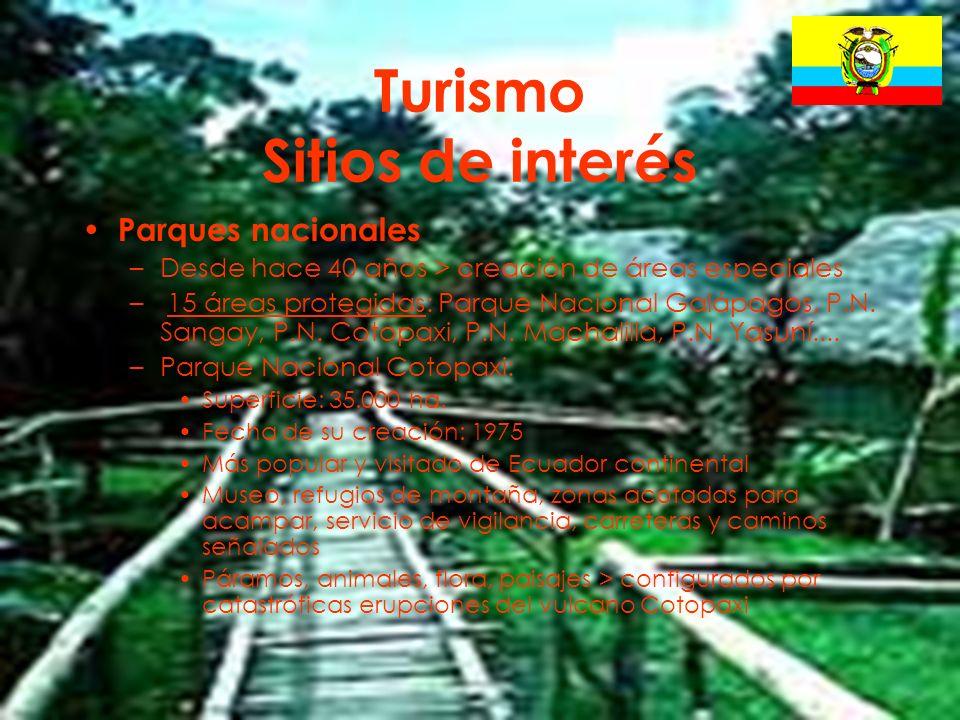 22 Turismo Sitios de interés Parques nacionales –Desde hace 40 años > creación de áreas especiales – 15 áreas protegidas: Parque Nacional Galápagos, P