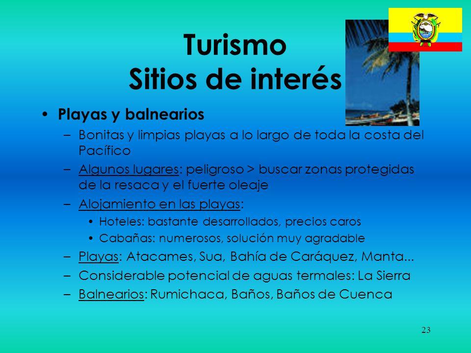 23 Turismo Sitios de interés Playas y balnearios –Bonitas y limpias playas a lo largo de toda la costa del Pacífico –Algunos lugares: peligroso > busc