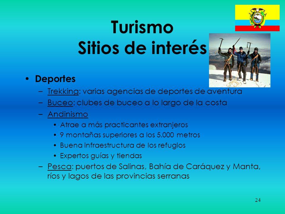 24 Turismo Sitios de interés Deportes –Trekking: varias agencias de deportes de aventura –Buceo: clubes de buceo a lo largo de la costa –Andinismo Atr