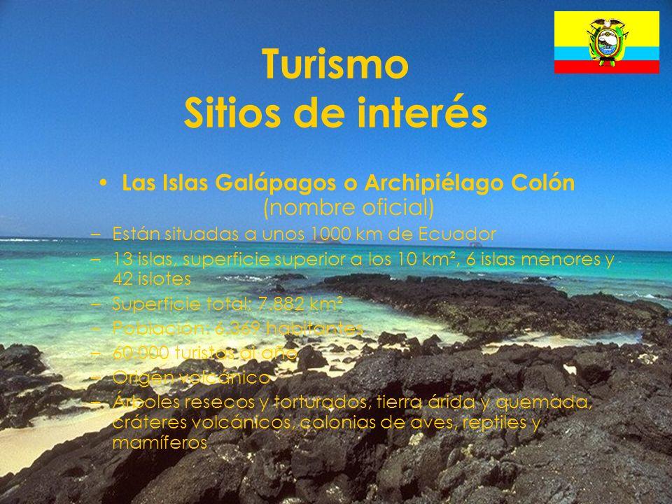 26 Turismo Sitios de interés Las Islas Galápagos o Archipiélago Colón (nombre oficial) –Están situadas a unos 1000 km de Ecuador –13 islas, superficie