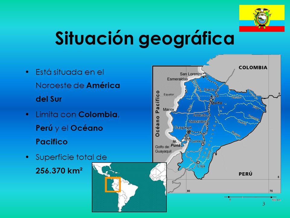 14 Arte y Cultura Nacionalidades indígenas –Proceden del pueblo quechua > reino de Quito –Mestizaje con los españoles y aporte de los esclavos africanos –Nueve nacionalidades indígenas: La Costa pacífica –Awa (1.600) –Chachi (4.000) –Tsáchila (2.000) La Sierra –Quichua (3.000.000) La cuenca amazónica –Quichua (60.000) –Cofán (800) –Siona-Secoya (1.000) –Shuar (40.000) –Achuar (500) –Huaorani (2.000)