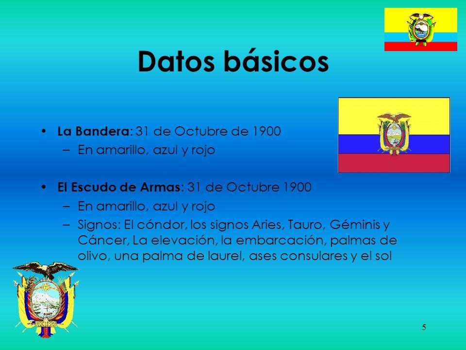 5 Datos básicos La Bandera : 31 de Octubre de 1900 –En amarillo, azul y rojo El Escudo de Armas : 31 de Octubre 1900 –En amarillo, azul y rojo –Signos