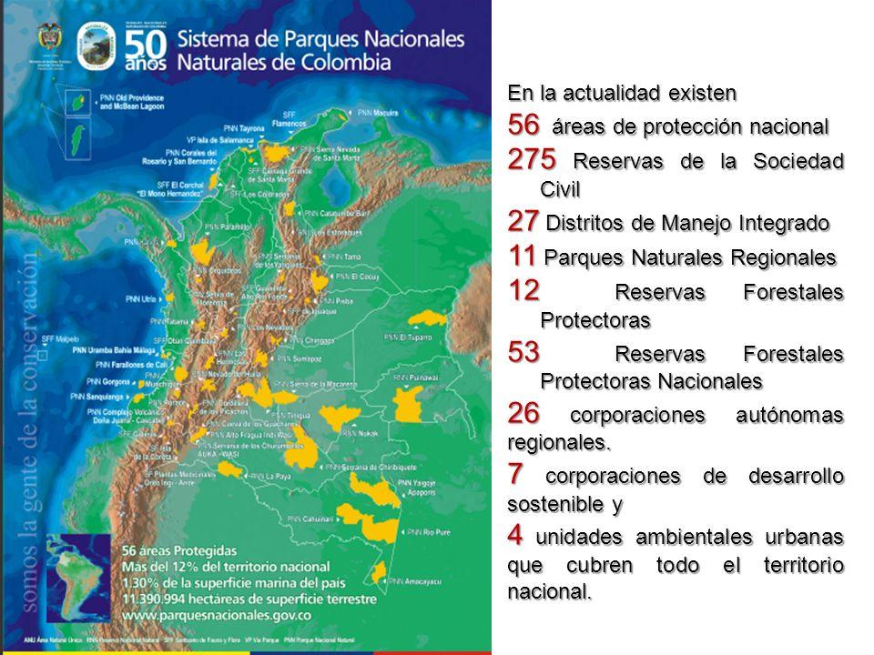 En la actualidad existen 56 áreas de protección nacional 275 Reservas de la Sociedad Civil 27 Distritos de Manejo Integrado 11 Parques Naturales Regio