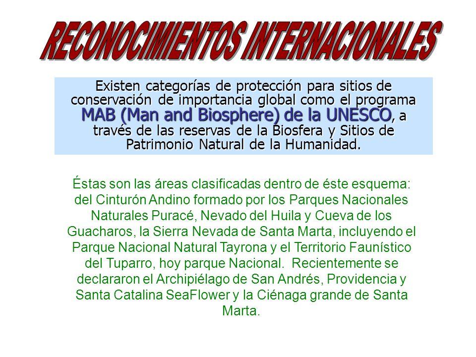 Existen categorías de protección para sitios de conservación de importancia global como el programa MAB (Man and Biosphere) de la UNESCO, a través de