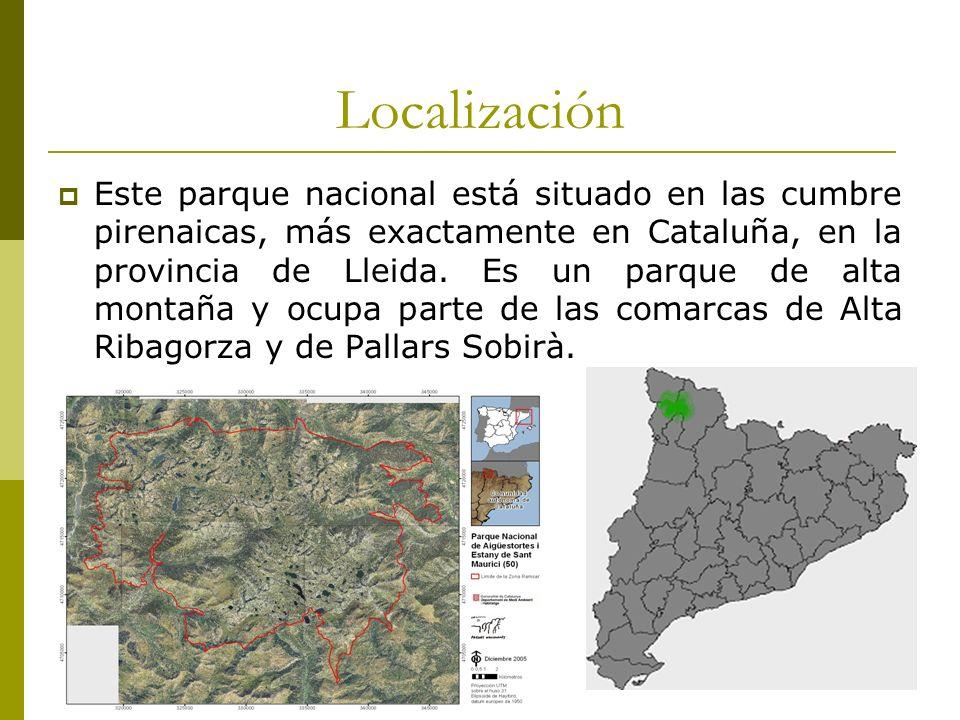 Localización Este parque nacional está situado en las cumbre pirenaicas, más exactamente en Cataluña, en la provincia de Lleida.