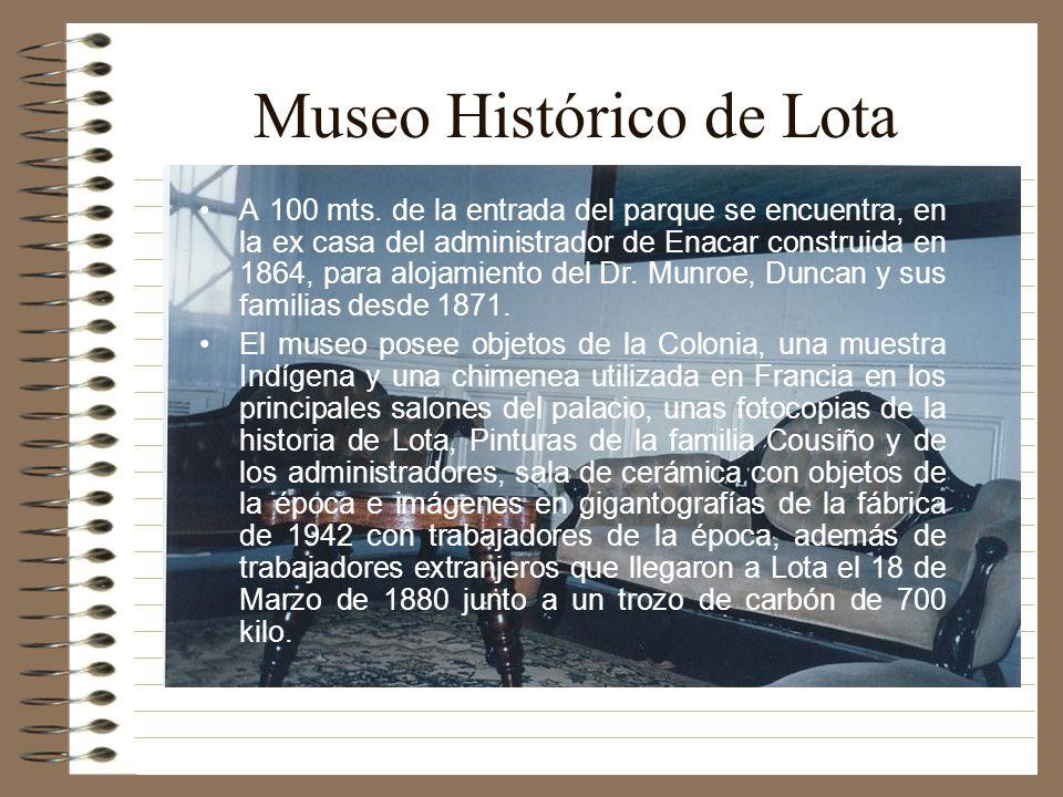 Museo Histórico de Lota A 100 mts. de la entrada del parque se encuentra, en la ex casa del administrador de Enacar construida en 1864, para alojamien
