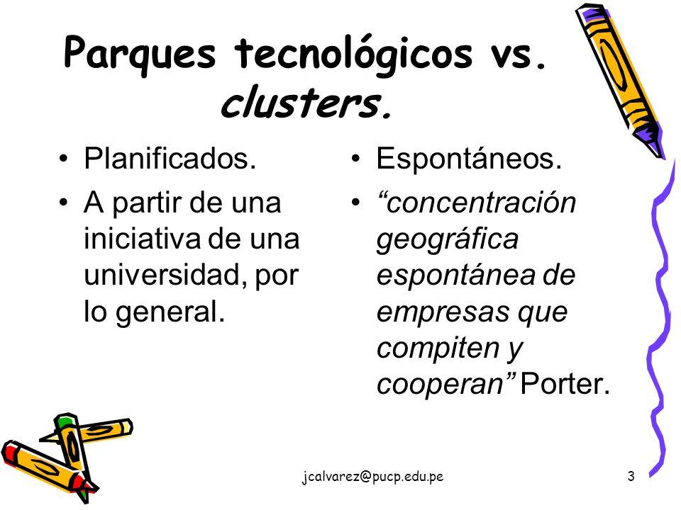 jcalvarez@pucp.edu.pe3 Parques tecnológicos vs.clusters.