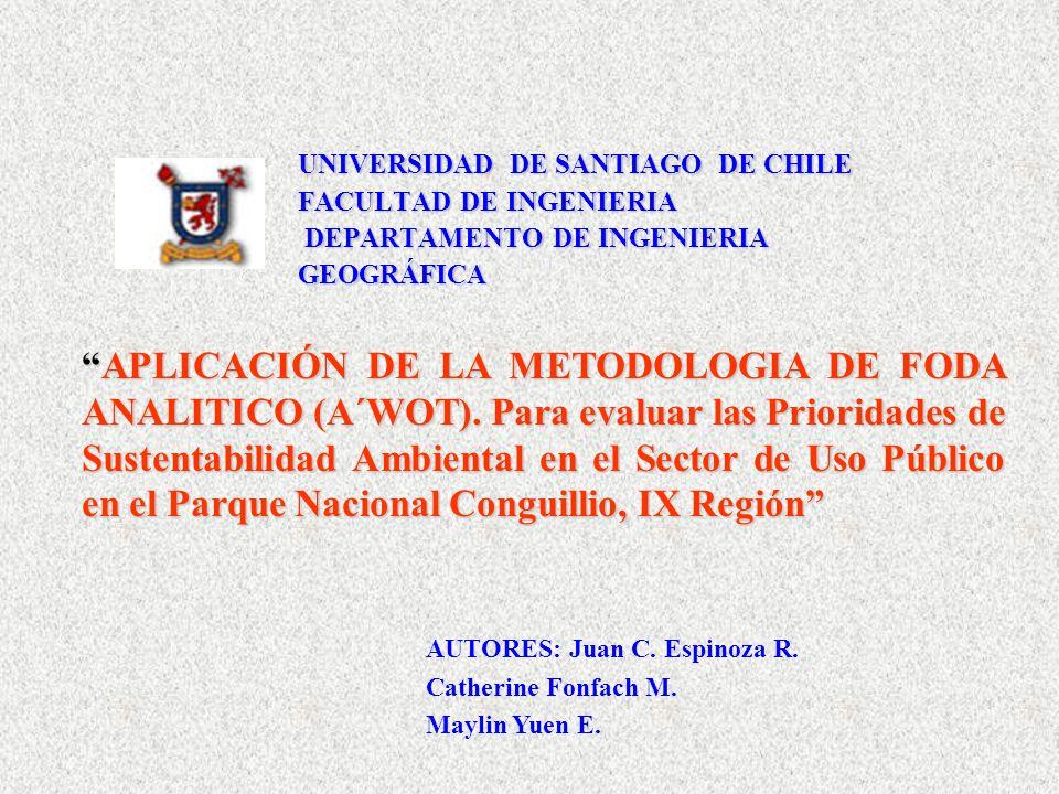 UNIVERSIDAD DE SANTIAGO DE CHILE FACULTAD DE INGENIERIA DEPARTAMENTO DE INGENIERIA GEOGRÁFICA APLICACIÓN DE LA METODOLOGIA DE FODA ANALITICO (A´WOT).