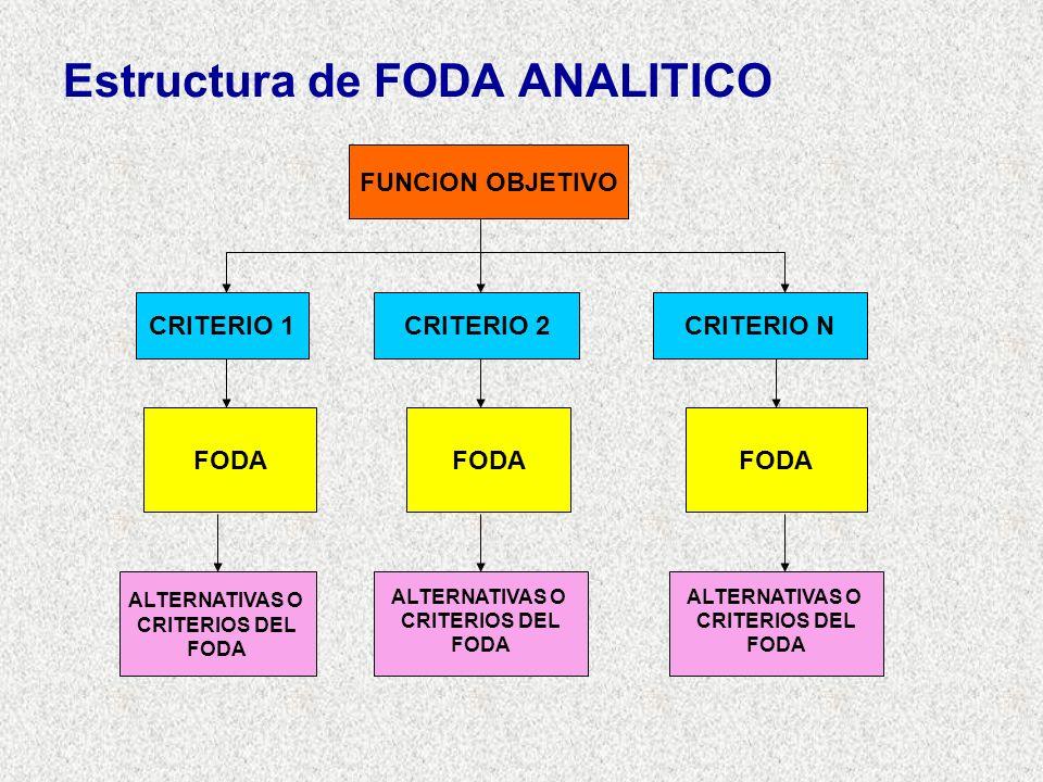 Estructura de FODA ANALITICO FUNCION OBJETIVO CRITERIO 1CRITERIO 2CRITERIO N FODA ALTERNATIVAS O CRITERIOS DEL FODA ALTERNATIVAS O CRITERIOS DEL FODA ALTERNATIVAS O CRITERIOS DEL FODA