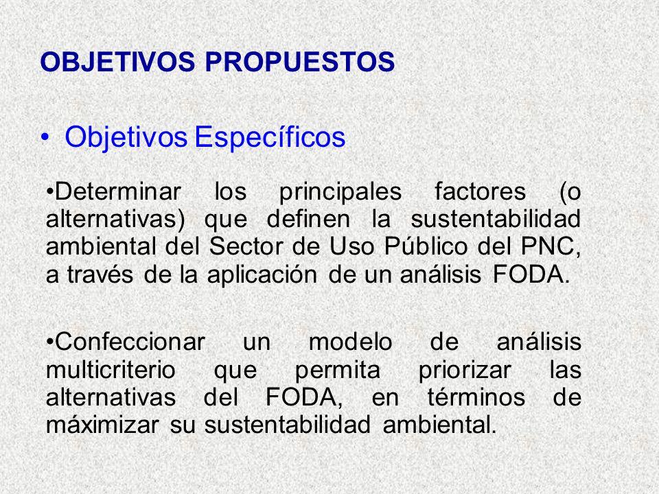 OBJETIVOS PROPUESTOS Objetivos Específicos Determinar los principales factores (o alternativas) que definen la sustentabilidad ambiental del Sector de Uso Público del PNC, a través de la aplicación de un análisis FODA.