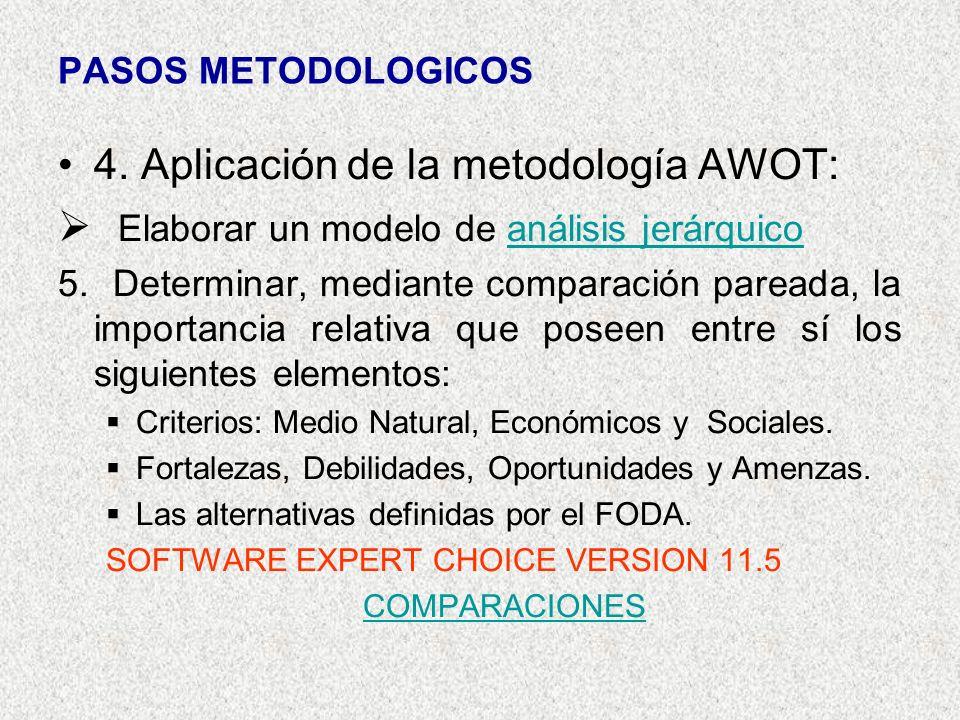 PASOS METODOLOGICOS 4. Aplicación de la metodología AWOT: Elaborar un modelo de análisis jerárquicoanálisis jerárquico 5. Determinar, mediante compara