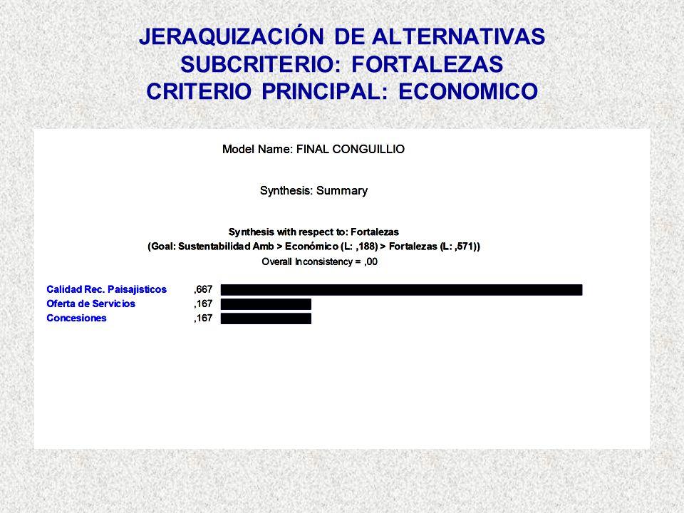 JERAQUIZACIÓN DE ALTERNATIVAS SUBCRITERIO: FORTALEZAS CRITERIO PRINCIPAL: ECONOMICO