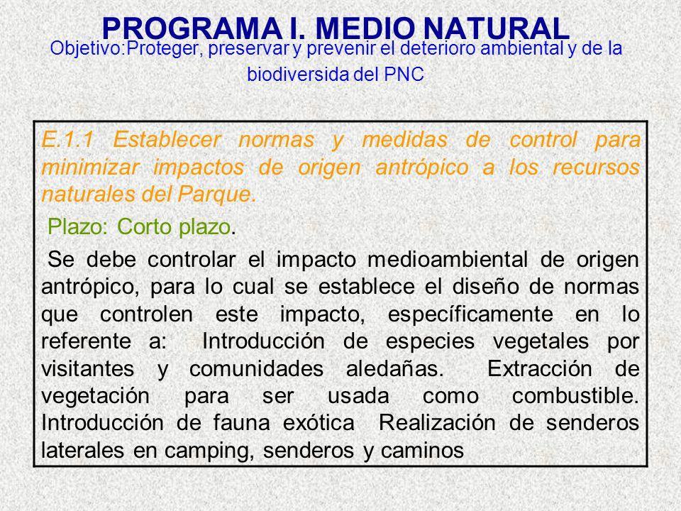 PROGRAMA I. MEDIO NATURAL Objetivo:Proteger, preservar y prevenir el deterioro ambiental y de la biodiversida del PNC E.1.1 Establecer normas y medida