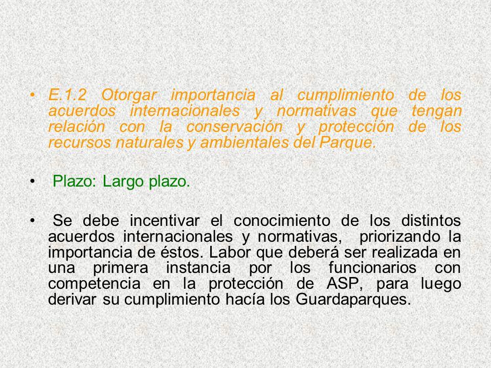 E.1.2 Otorgar importancia al cumplimiento de los acuerdos internacionales y normativas que tengan relación con la conservación y protección de los rec