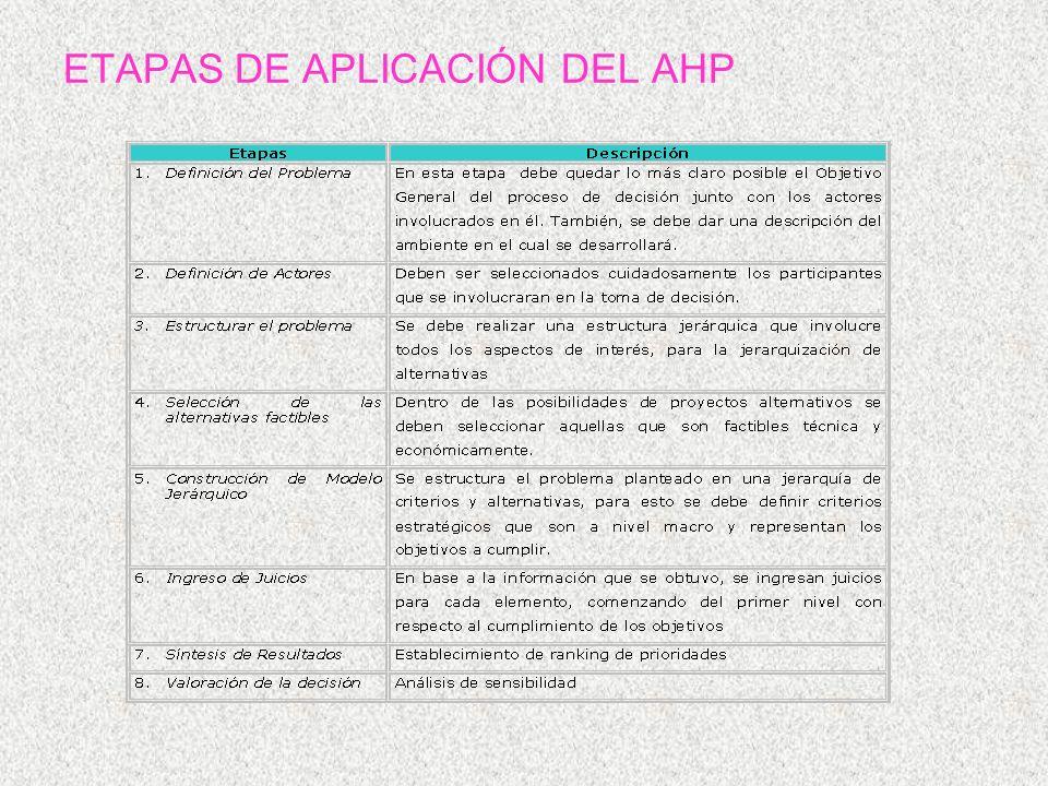 ETAPAS DE APLICACIÓN DEL AHP