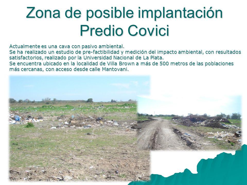 Zona de posible implantación Predio Covici Actualmente es una cava con pasivo ambiental. Se ha realizado un estudio de pre-factibilidad y medición del