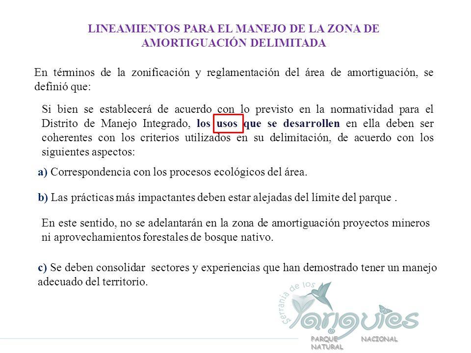 PARQUE NACIONAL NATURAL LINEAMIENTOS PARA EL MANEJO DE LA ZONA DE AMORTIGUACIÓN DELIMITADA En términos de la zonificación y reglamentación del área de