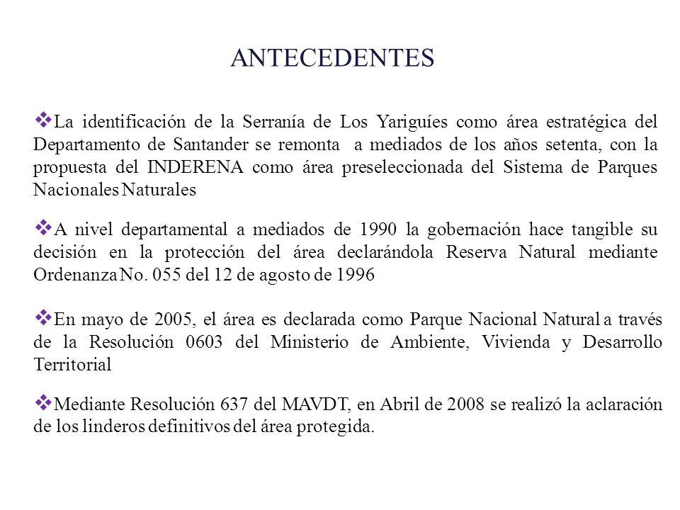 La identificación de la Serranía de Los Yariguíes como área estratégica del Departamento de Santander se remonta a mediados de los años setenta, con l