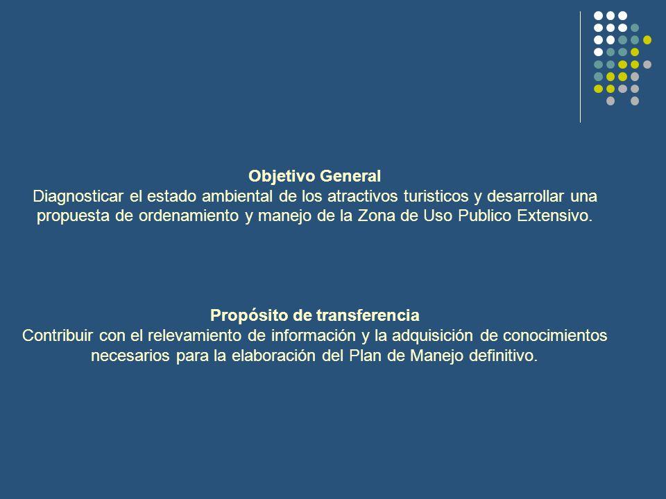 Objetivo General Diagnosticar el estado ambiental de los atractivos turisticos y desarrollar una propuesta de ordenamiento y manejo de la Zona de Uso