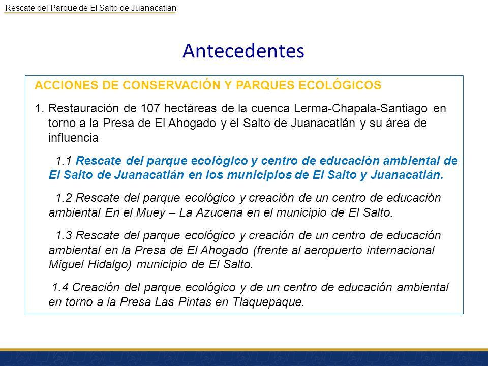 Rescate del Parque de El Salto de Juanacatlán Antecedentes (Continuación) Se presentó el Proyecto conceptual a concurso en la convocatoria COMARNAT 2012.