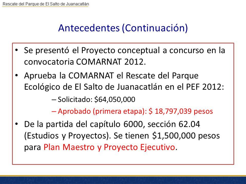 Rescate del Parque de El Salto de Juanacatlán Antecedentes (Continuación) Se presentó el Proyecto conceptual a concurso en la convocatoria COMARNAT 20