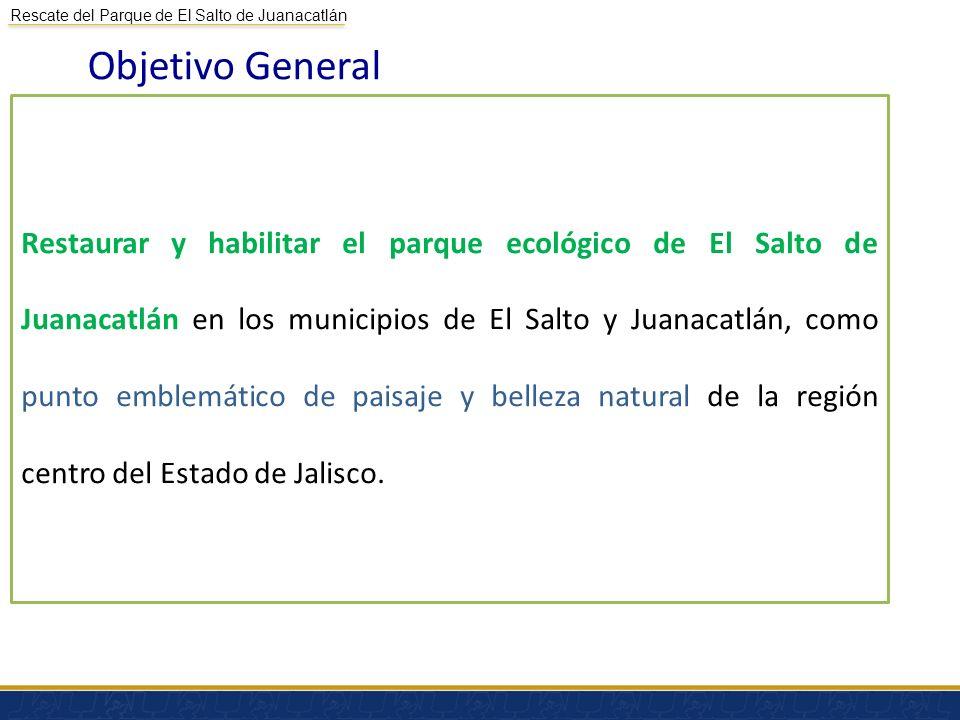 Rescate del Parque de El Salto de Juanacatlán Objetivo General Restaurar y habilitar el parque ecológico de El Salto de Juanacatlán en los municipios