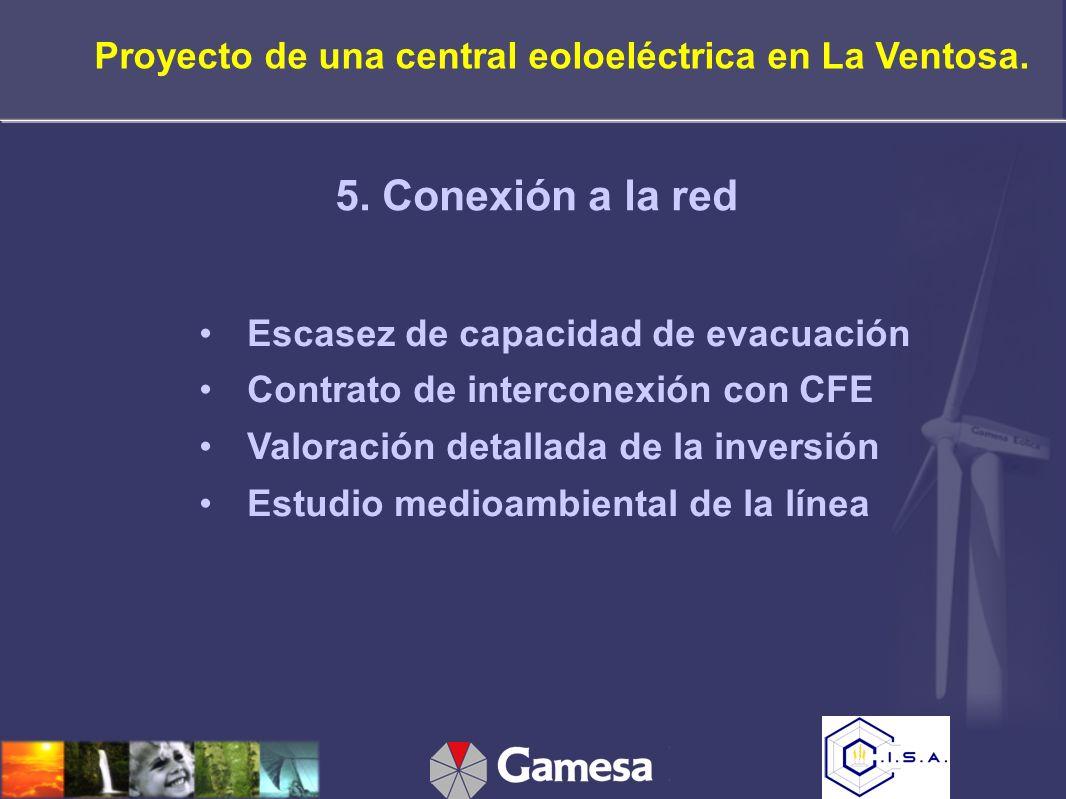 Escasez de capacidad de evacuación Contrato de interconexión con CFE Valoración detallada de la inversión Estudio medioambiental de la línea 5.