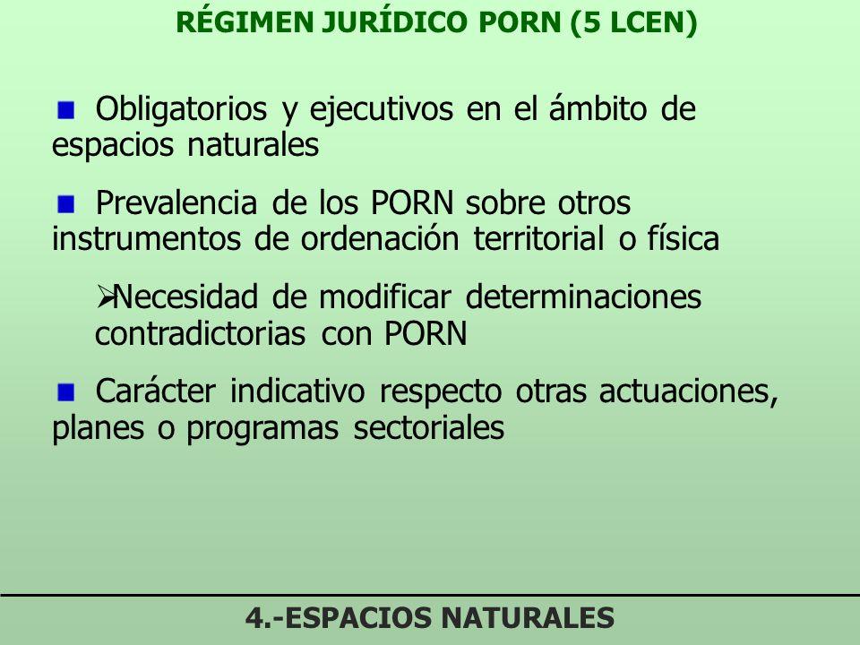 OBJETIVOS PORN (4.3 LCEN) 4.-ESPACIOS NATURALES Definir estado conservación de los recursos Determinación de las limitaciones necesarias Señalar regím