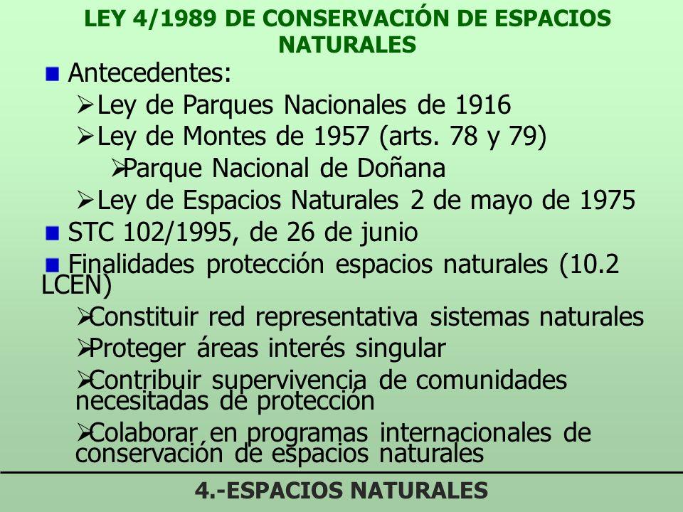 LEY 4/1989 DE CONSERVACIÓN DE ESPACIOS NATURALES 4.-ESPACIOS NATURALES Antecedentes: Ley de Parques Nacionales de 1916 Ley de Montes de 1957 (arts.