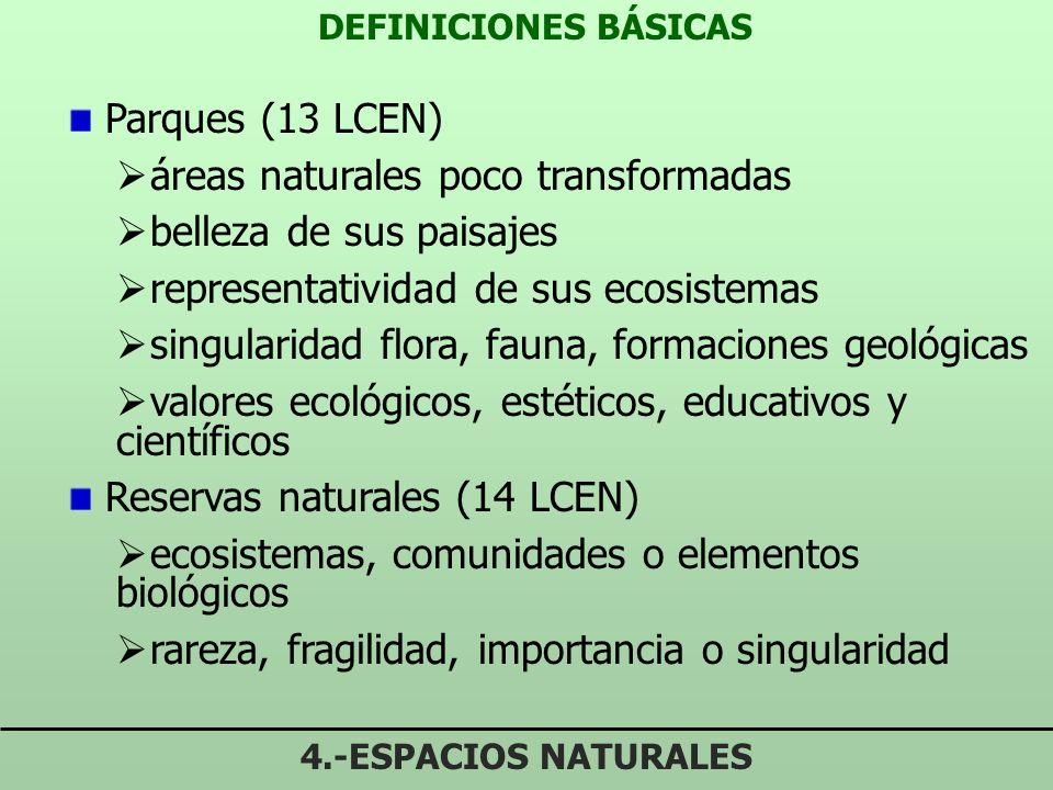 DEFINICIONES BÁSICAS 4.-ESPACIOS NATURALES Parques (13 LCEN) áreas naturales poco transformadas belleza de sus paisajes representatividad de sus ecosistemas singularidad flora, fauna, formaciones geológicas valores ecológicos, estéticos, educativos y científicos Reservas naturales (14 LCEN) ecosistemas, comunidades o elementos biológicos rareza, fragilidad, importancia o singularidad