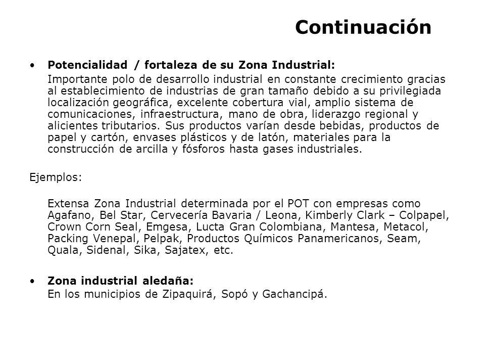 Continuación Potencialidad / fortaleza de su Zona Industrial: Importante polo de desarrollo industrial en constante crecimiento gracias al establecimi