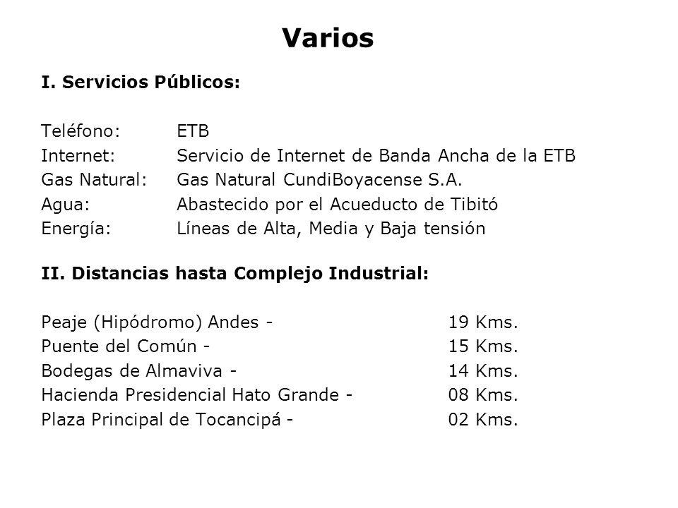 Varios I. Servicios Públicos: Teléfono: ETB Internet: Servicio de Internet de Banda Ancha de la ETB Gas Natural: Gas Natural CundiBoyacense S.A. Agua: